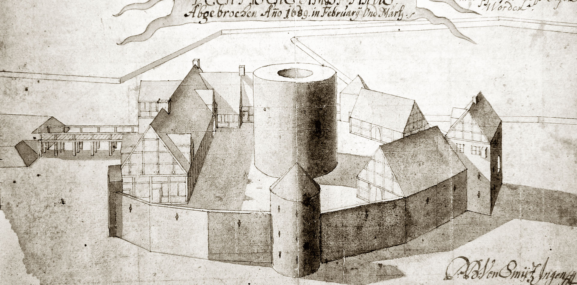 Die Burg Vechta in einer vogelperspektivischen Zeichnung des schwedischen Festungsingenieurs P. B. von Smidtz (1689)